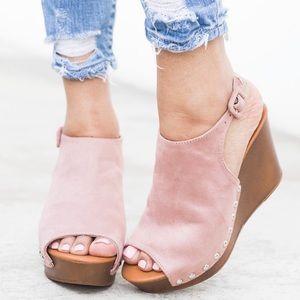 Shoes - Mauve Vegan Suede Wedges Mule Slingback